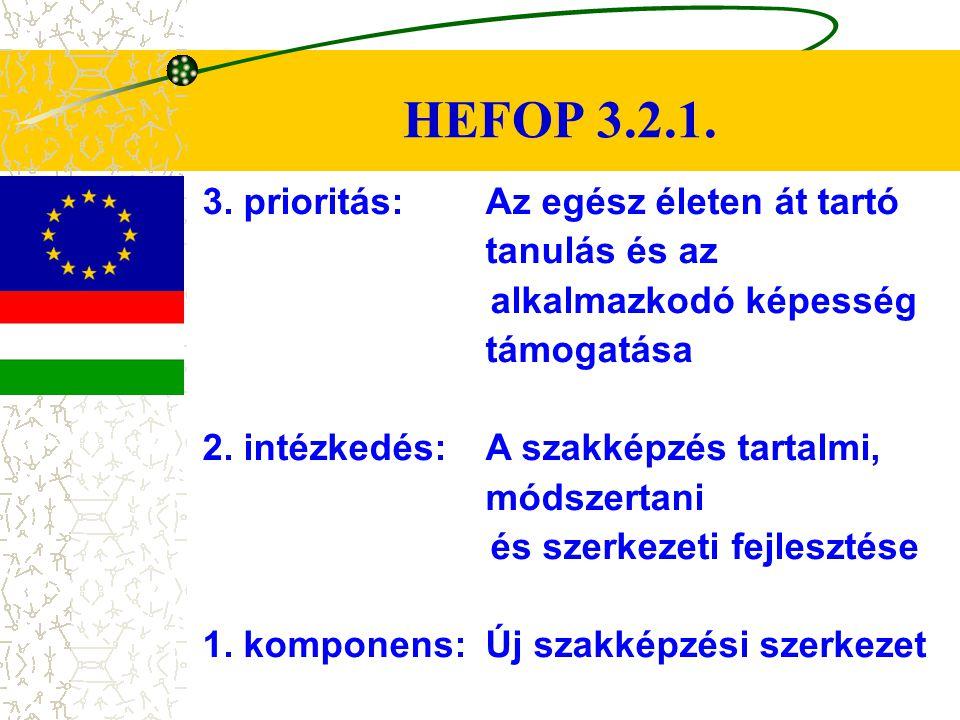 HEFOP 3.2.1. 3. prioritás: Az egész életen át tartó tanulás és az alkalmazkodó képesség támogatása.
