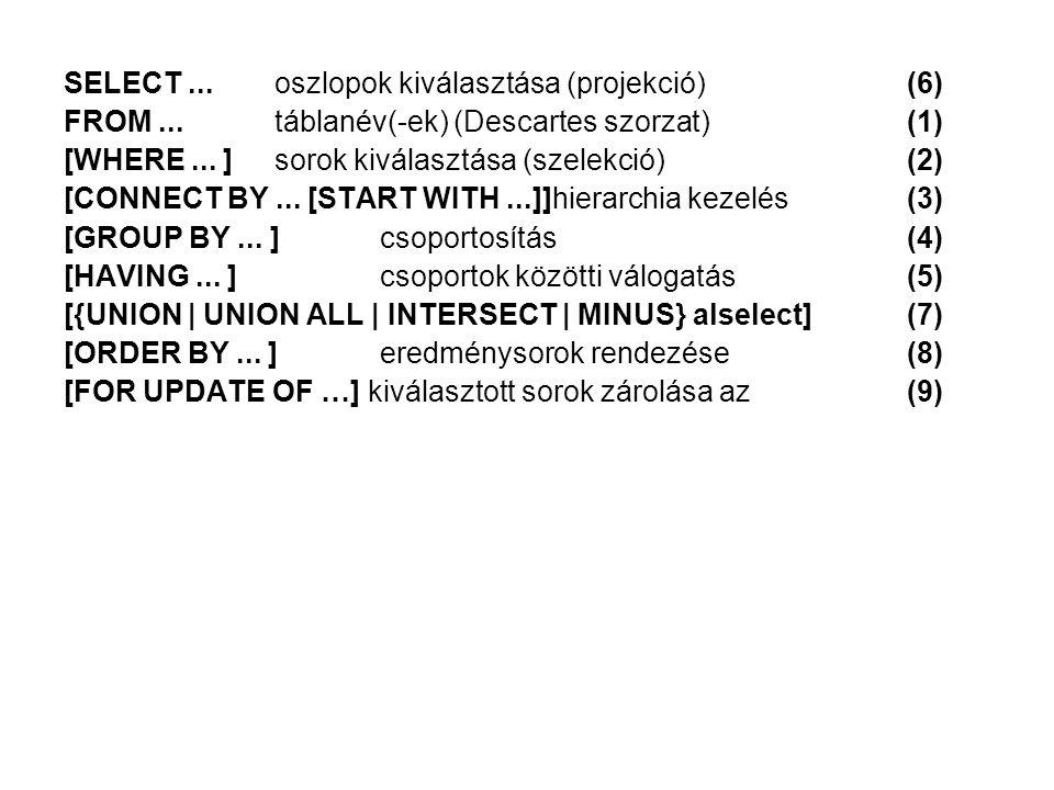 SELECT ... oszlopok kiválasztása (projekció) (6)