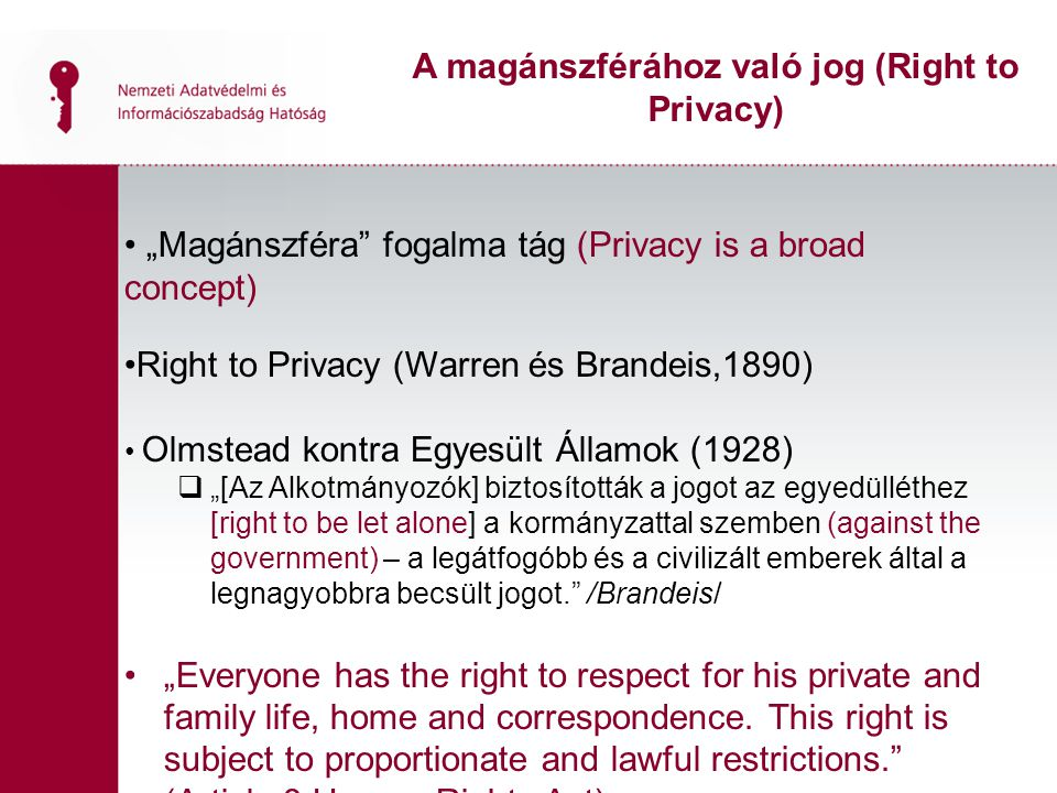 A magánszférához való jog (Right to Privacy)