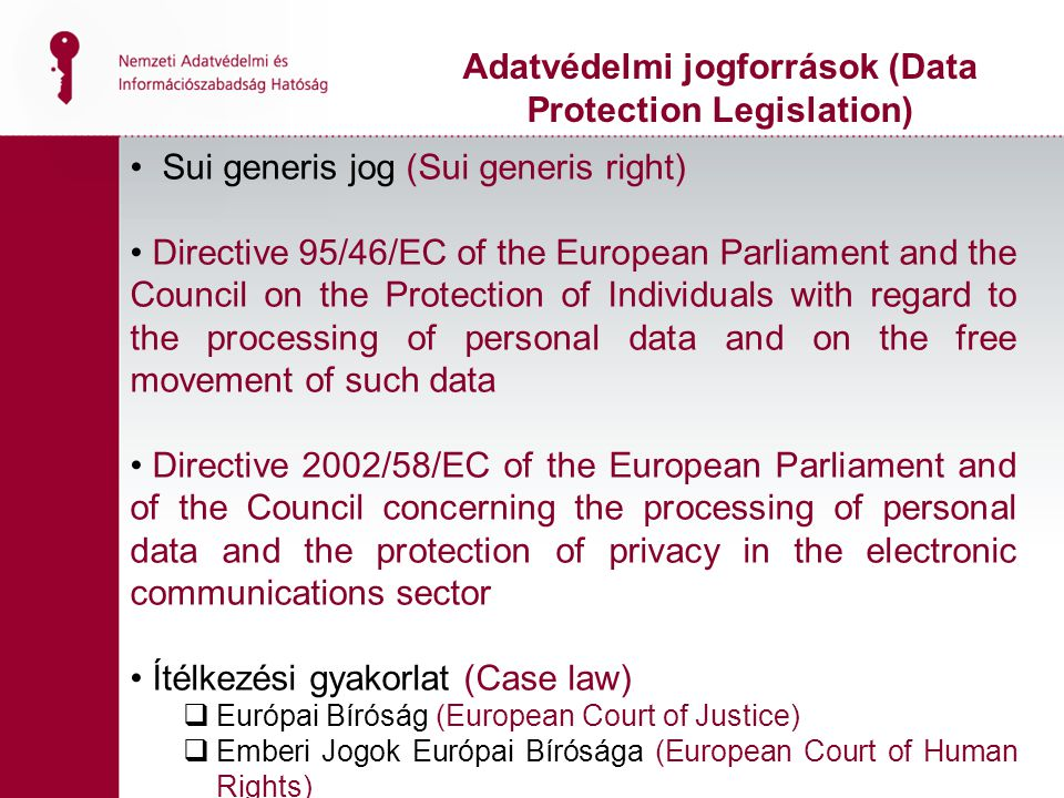 Adatvédelmi jogforrások (Data Protection Legislation)