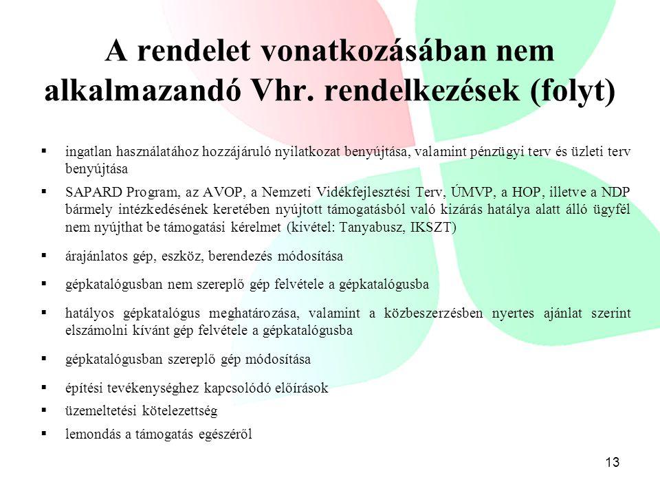 A rendelet vonatkozásában nem alkalmazandó Vhr. rendelkezések (folyt)