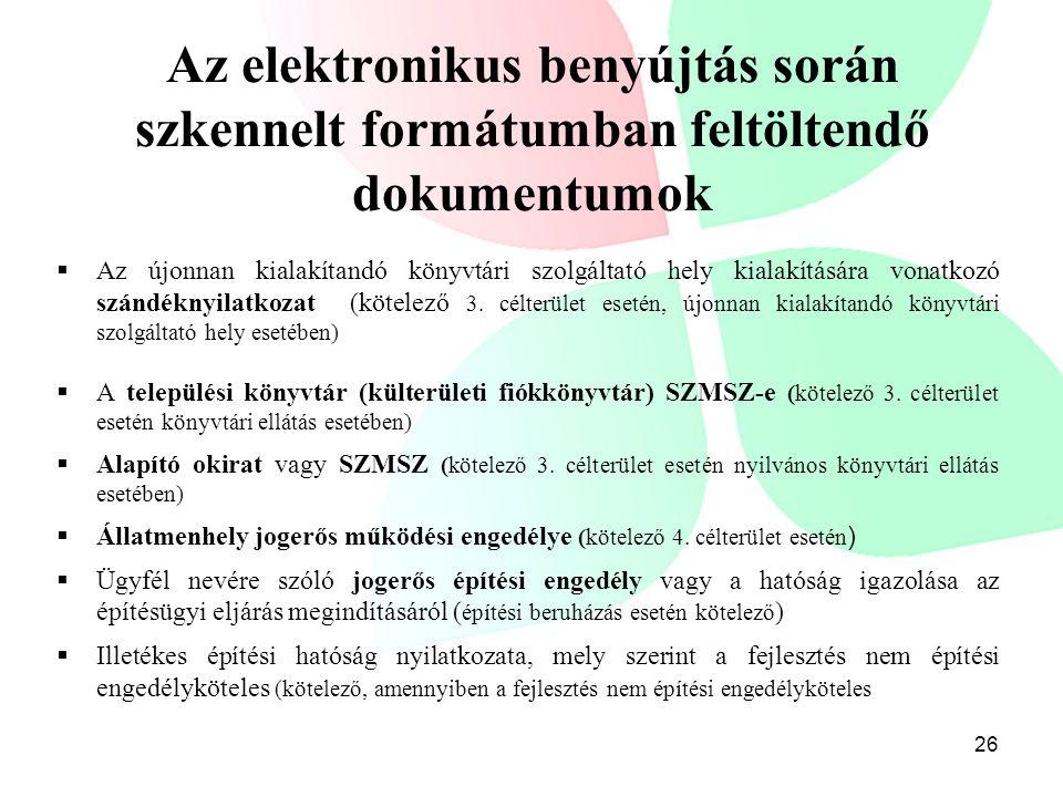 Az elektronikus benyújtás során szkennelt formátumban feltöltendő dokumentumok