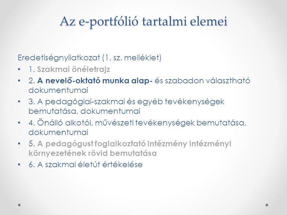 Az e-portfólió tartalmi elemei