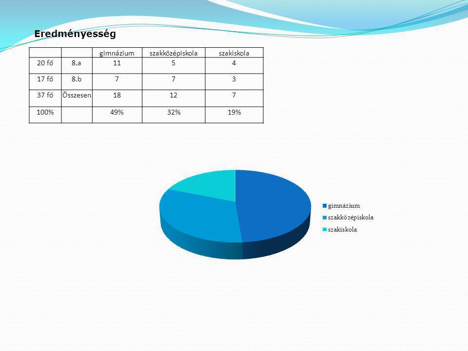 Eredményesség gimnázium szakközépiskola szakiskola 20 fő 8.a 11 5 4