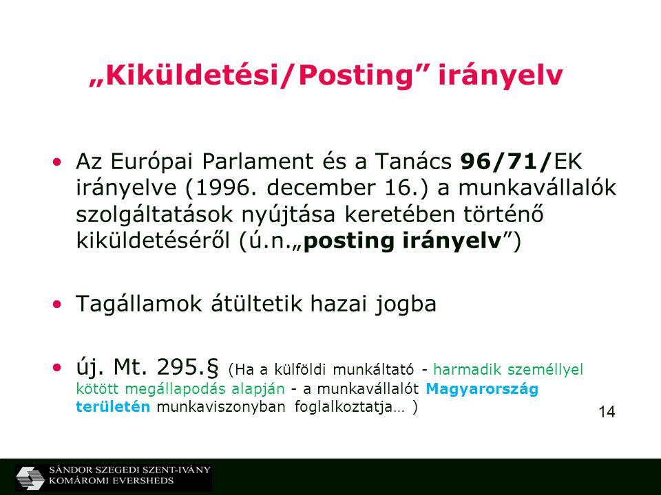 """""""Kiküldetési/Posting irányelv"""