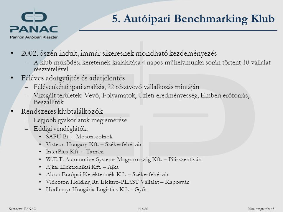 5. Autóipari Benchmarking Klub
