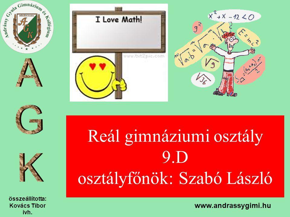Reál gimnáziumi osztály 9.D osztályfőnök: Szabó László
