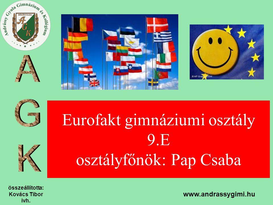 Eurofakt gimnáziumi osztály 9.E osztályfőnök: Pap Csaba