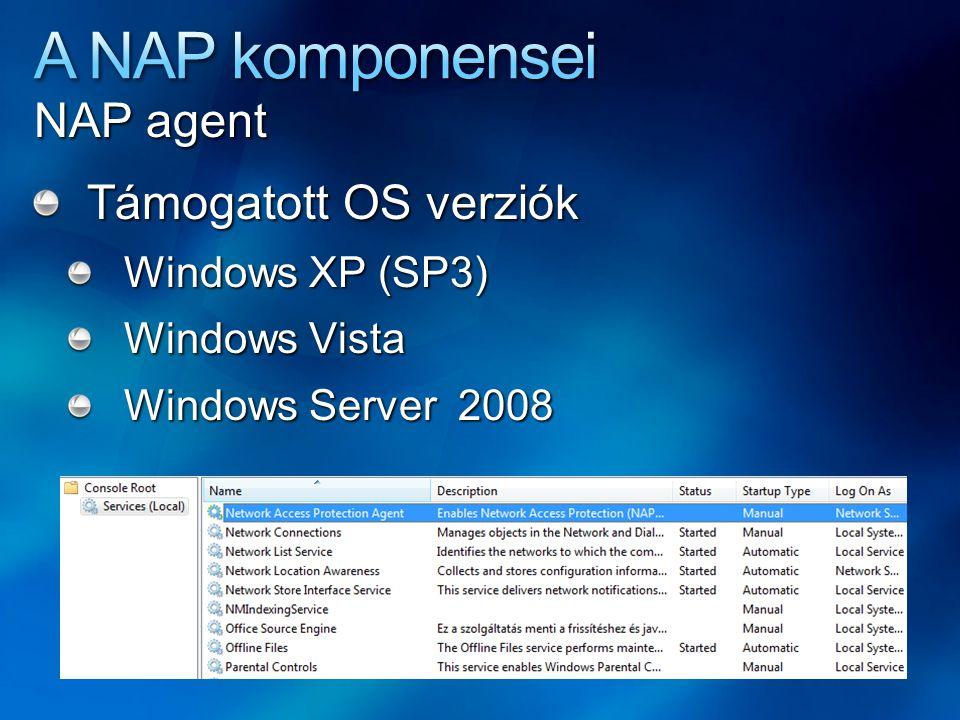 A NAP komponensei NAP agent Támogatott OS verziók Windows XP (SP3)
