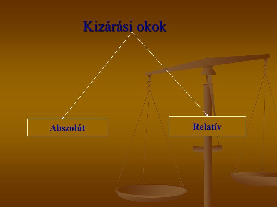 Kizárási okok Relatív Abszolút