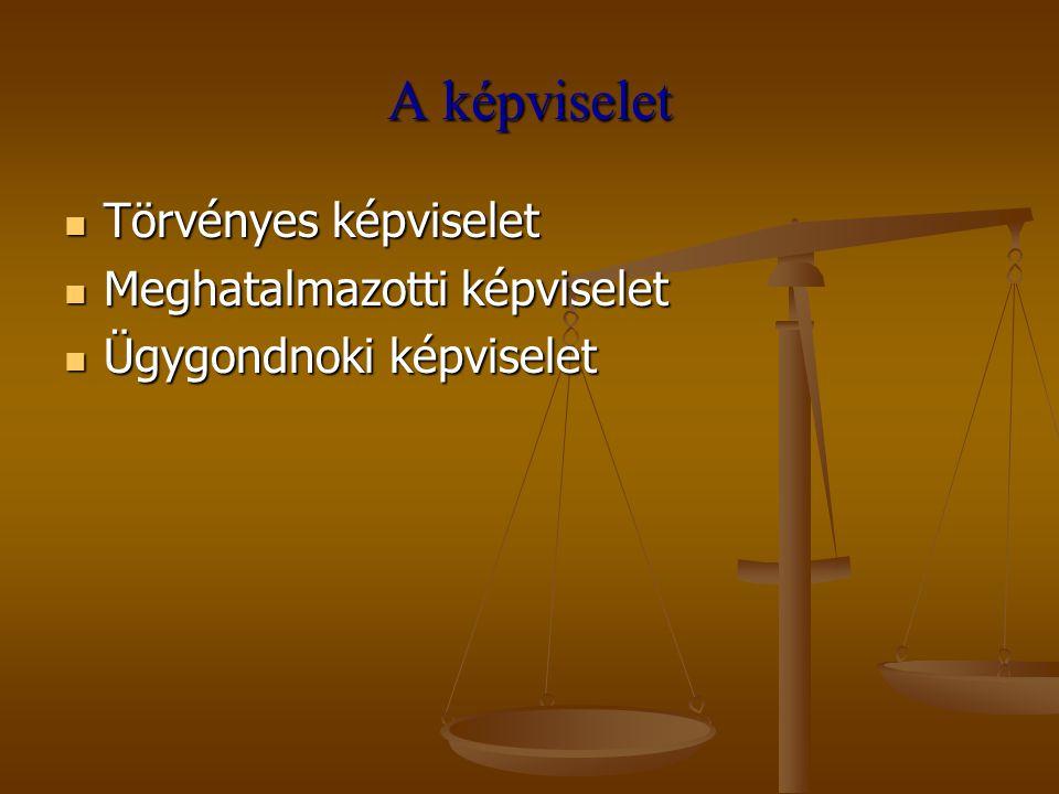 A képviselet Törvényes képviselet Meghatalmazotti képviselet