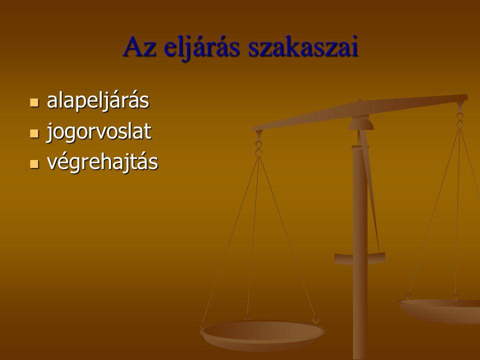 Az eljárás szakaszai alapeljárás jogorvoslat végrehajtás