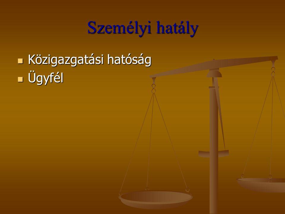 Személyi hatály Közigazgatási hatóság Ügyfél