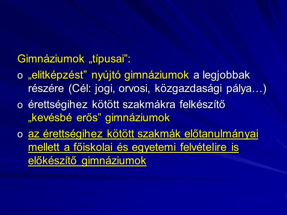 """Gimnáziumok """"típusai :"""