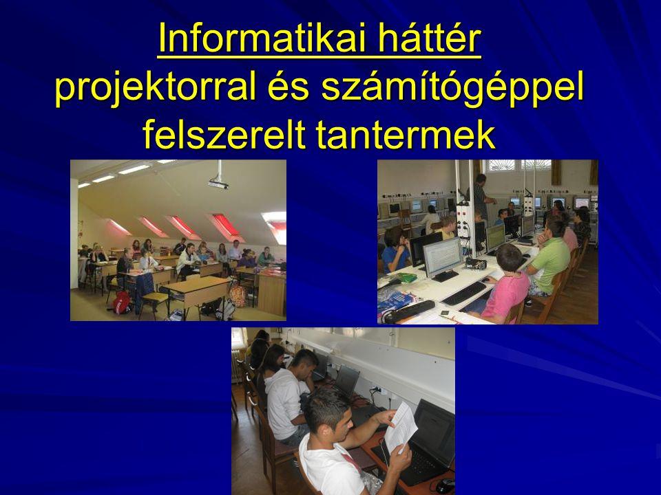 Informatikai háttér projektorral és számítógéppel felszerelt tantermek
