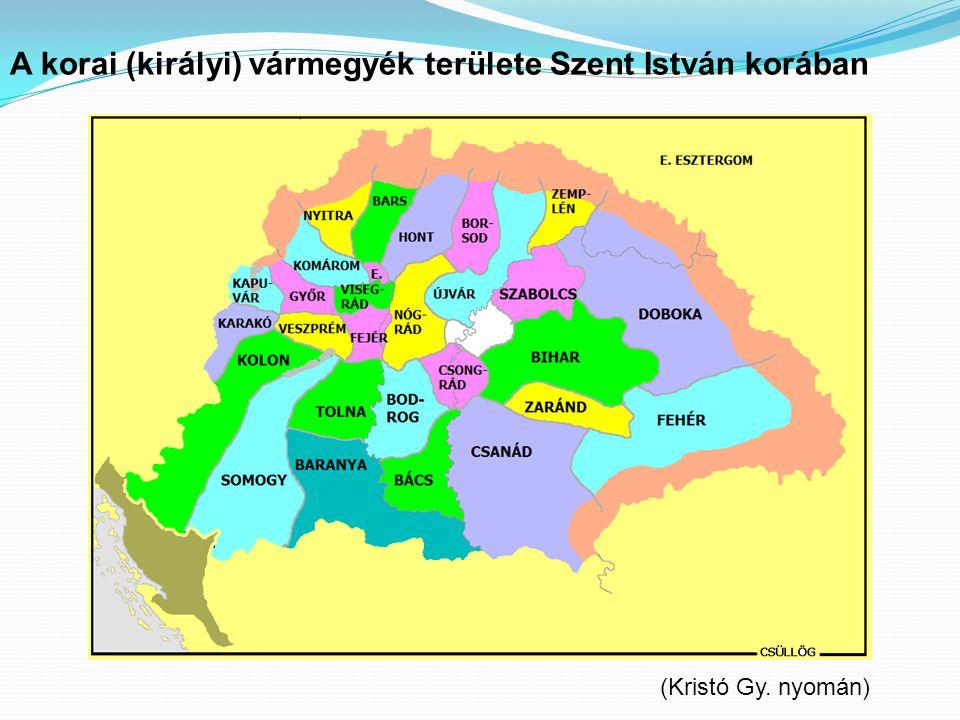 A korai (királyi) vármegyék területe Szent István korában
