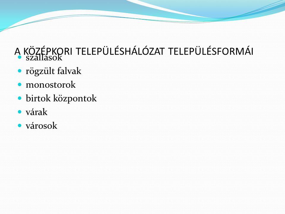 A KÖZÉPKORI TELEPÜLÉSHÁLÓZAT TELEPÜLÉSFORMÁI