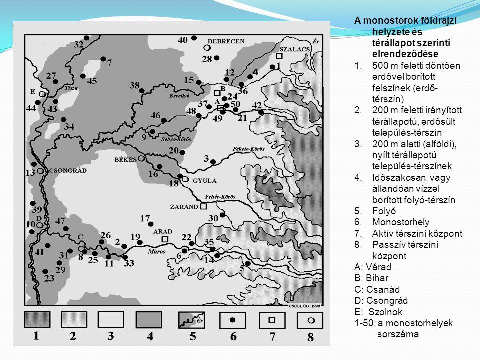 A monostorok földrajzi helyzete és térállapot szerinti elrendeződése