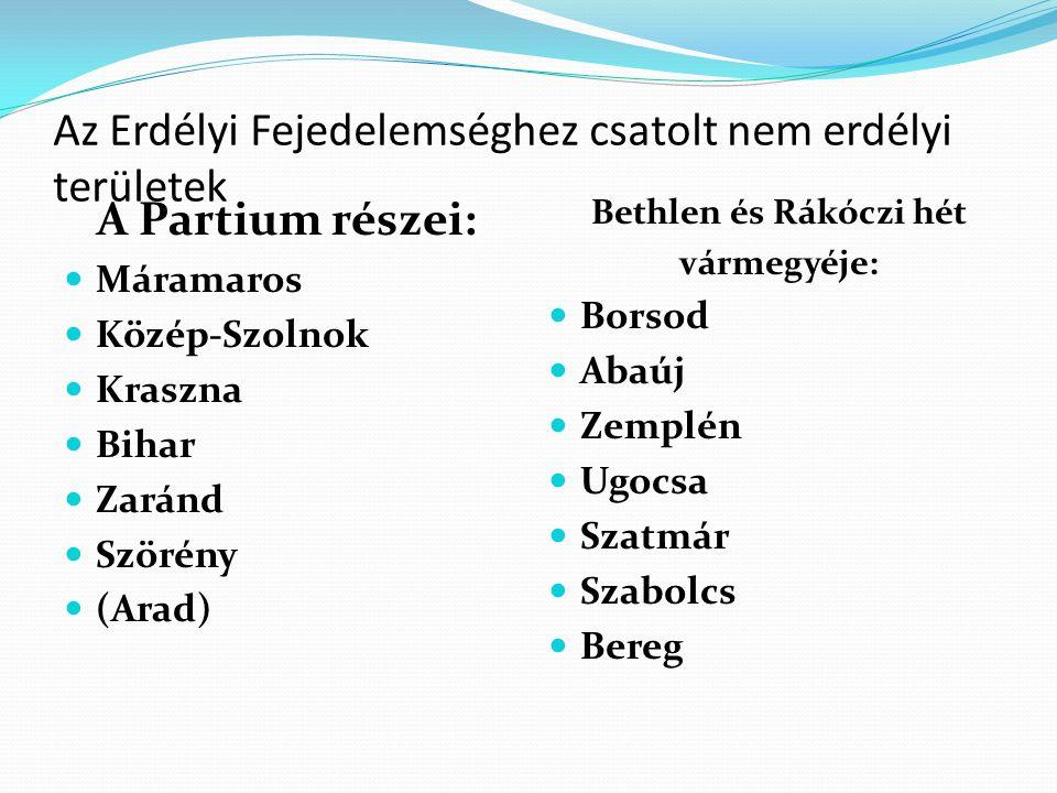 Az Erdélyi Fejedelemséghez csatolt nem erdélyi területek