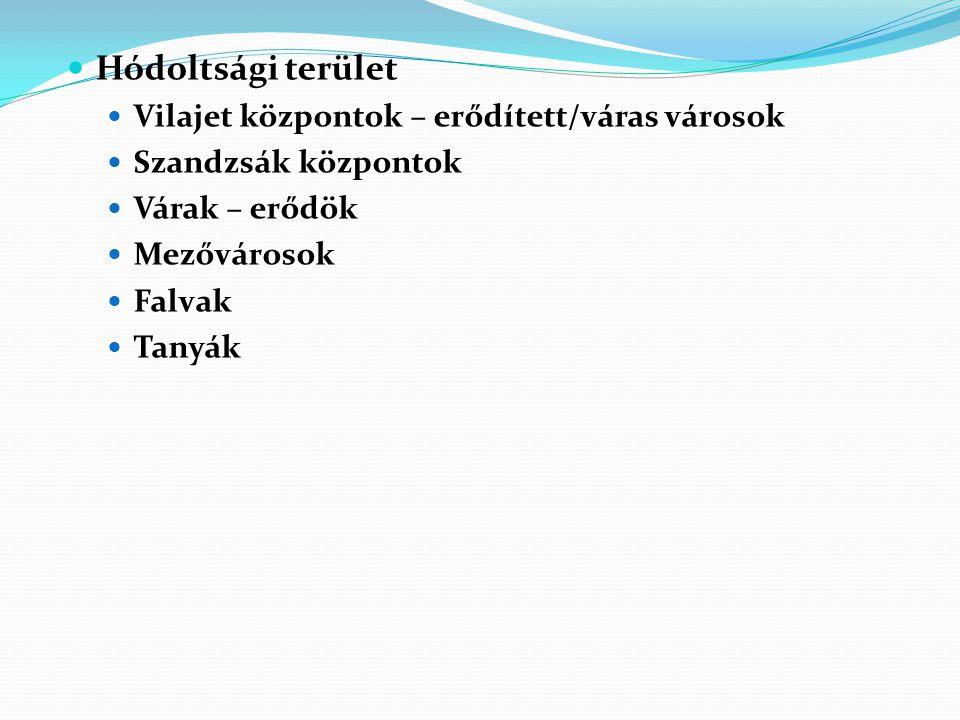 Hódoltsági terület Vilajet központok – erődített/váras városok