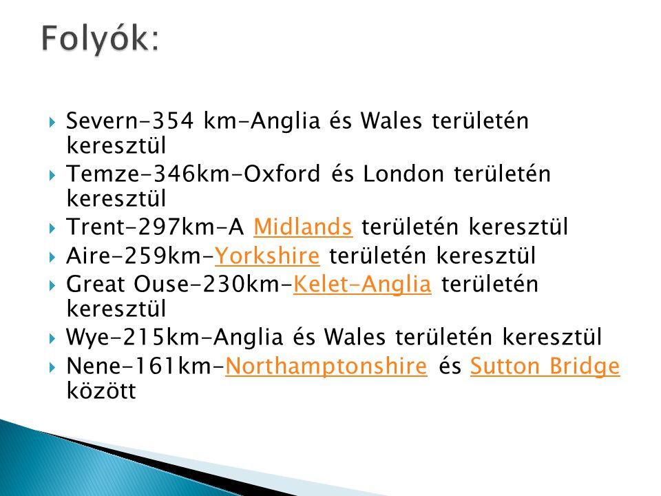 Folyók: Severn-354 km-Anglia és Wales területén keresztül