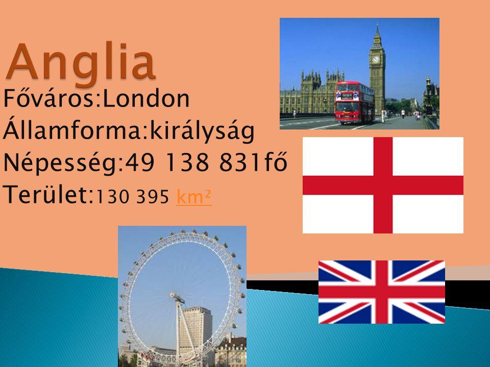 Anglia Főváros:London Államforma:királyság Népesség:49 138 831fő