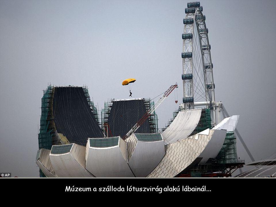 Múzeum a szálloda lótuszvirág alakú lábainál...