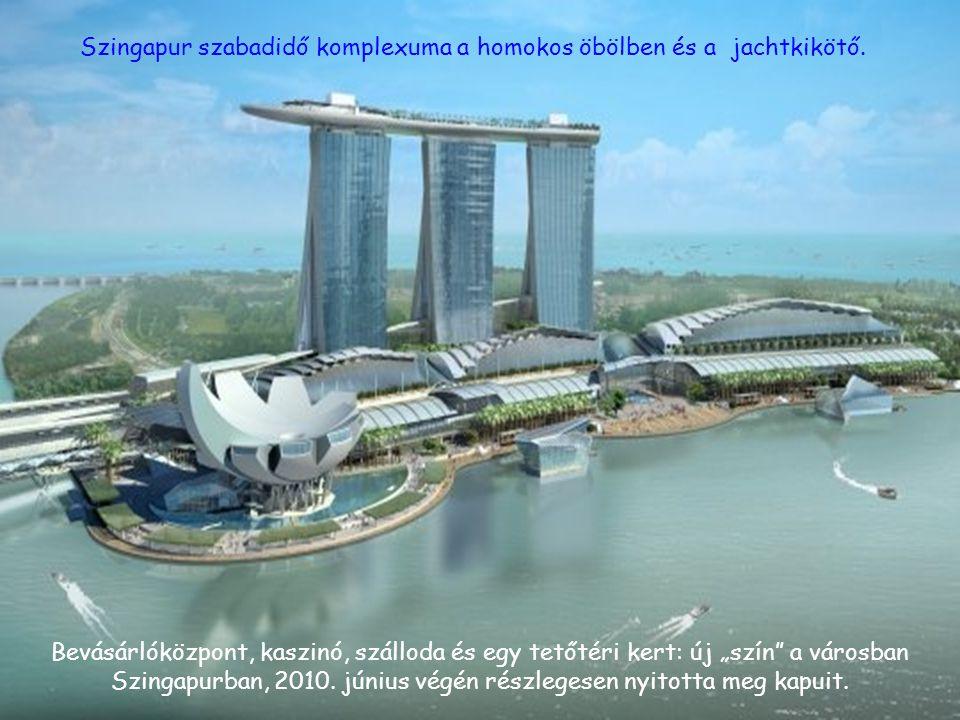 Szingapur szabadidő komplexuma a homokos öbölben és a jachtkikötő.