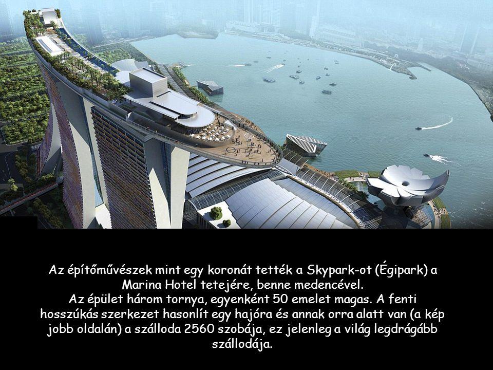 Az építőművészek mint egy koronát tették a Skypark-ot (Égipark) a Marina Hotel tetejére, benne medencével.