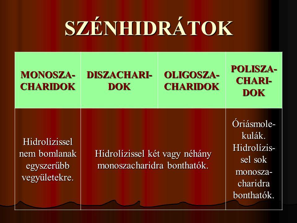 SZÉNHIDRÁTOK MONOSZA-CHARIDOK DISZACHARI-DOK OLIGOSZA-CHARIDOK