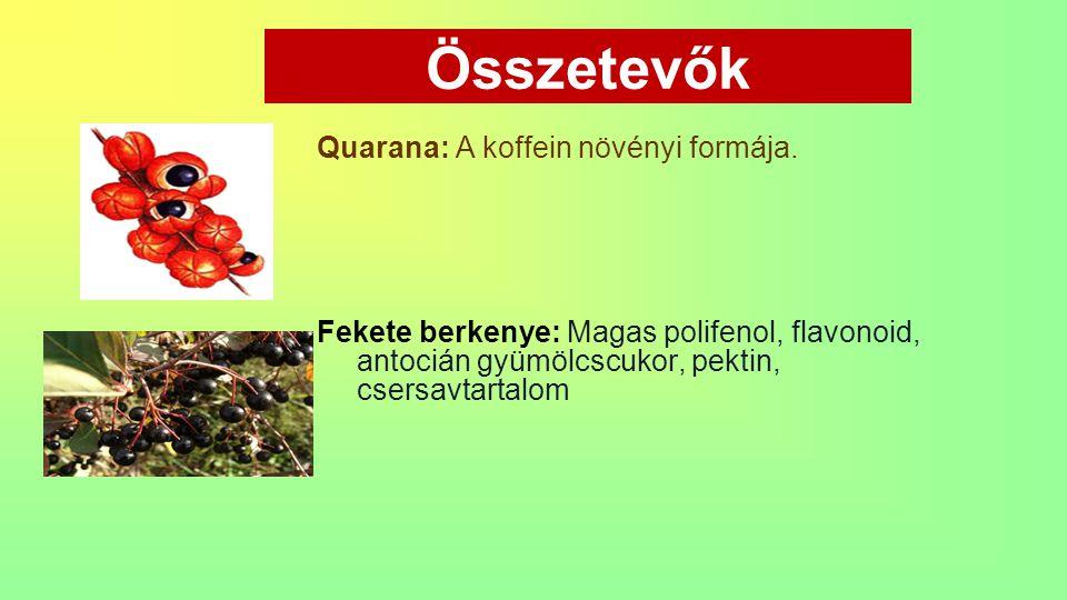 Összetevők Quarana: A koffein növényi formája.