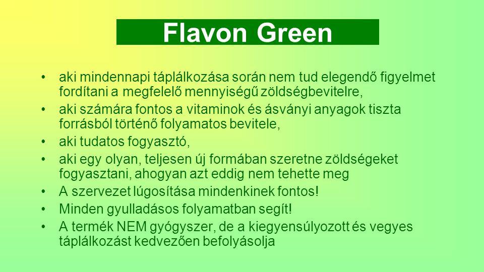 Flavon Green aki mindennapi táplálkozása során nem tud elegendő figyelmet fordítani a megfelelő mennyiségű zöldségbevitelre,