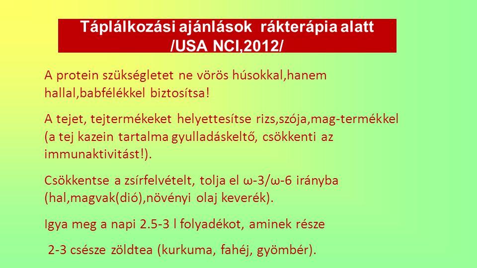 Táplálkozási ajánlások rákterápia alatt /USA NCI,2012/