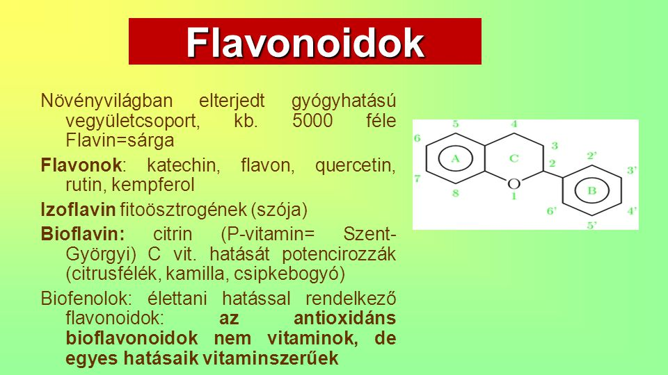 Flavonoidok Növényvilágban elterjedt gyógyhatású vegyületcsoport, kb. 5000 féle Flavin=sárga.