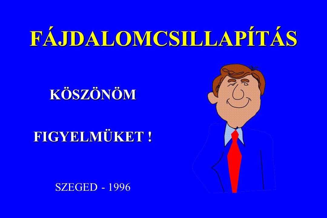 FÁJDALOMCSILLAPÍTÁS KÖSZÖNÖM FIGYELMÜKET ! SZEGED - 1996