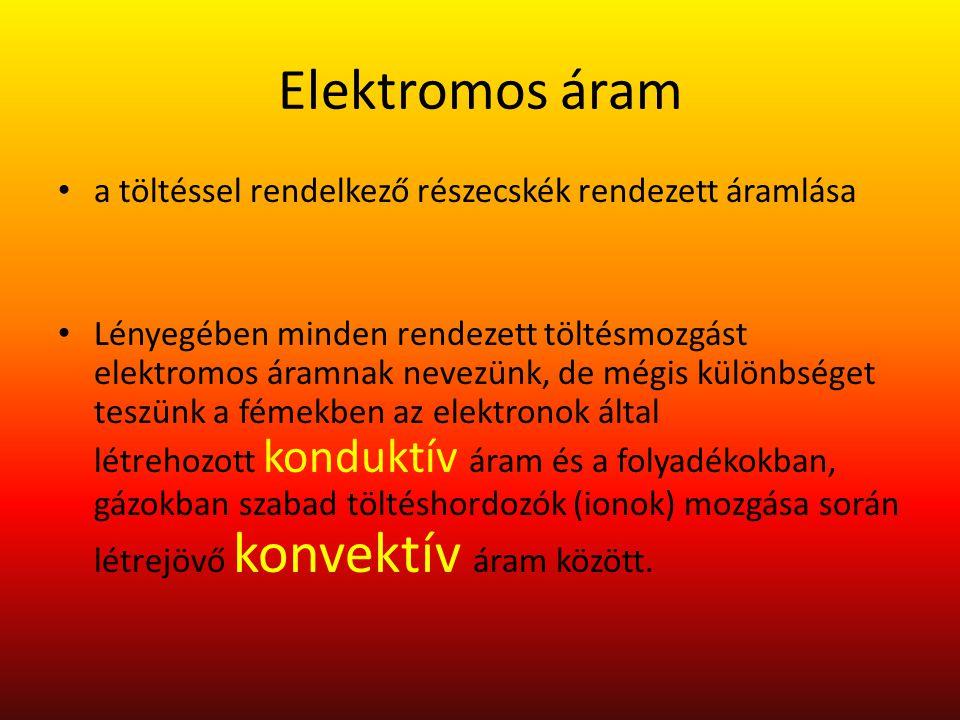Elektromos áram a töltéssel rendelkező részecskék rendezett áramlása