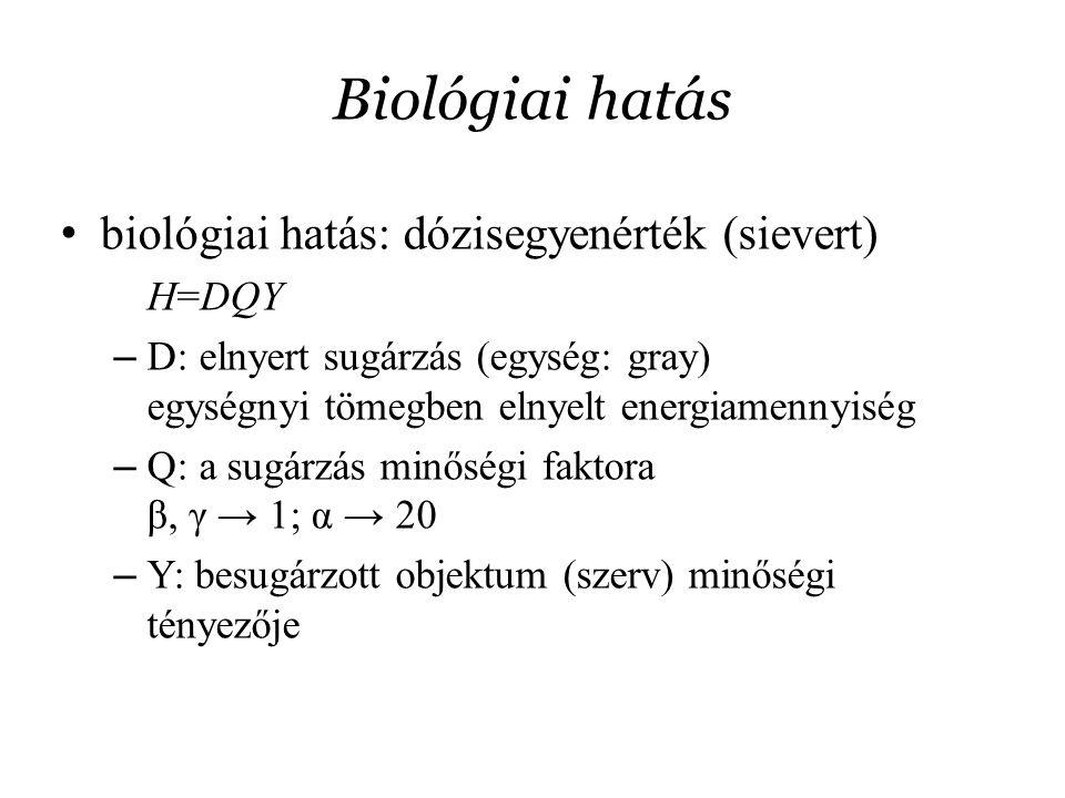 Biológiai hatás biológiai hatás: dózisegyenérték (sievert) H=DQY