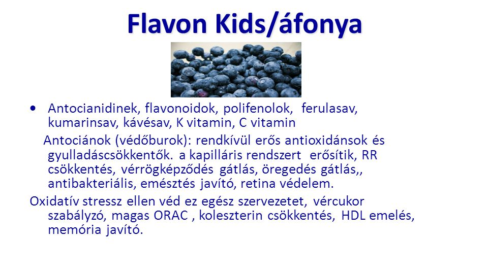 Flavon Kids/áfonya Antocianidinek, flavonoidok, polifenolok, ferulasav, kumarinsav, kávésav, K vitamin, C vitamin.