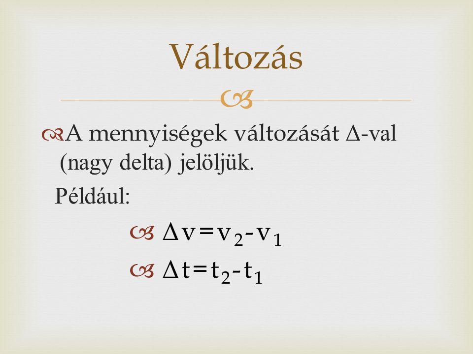 Változás Δv=v2-v1 Δt=t2-t1