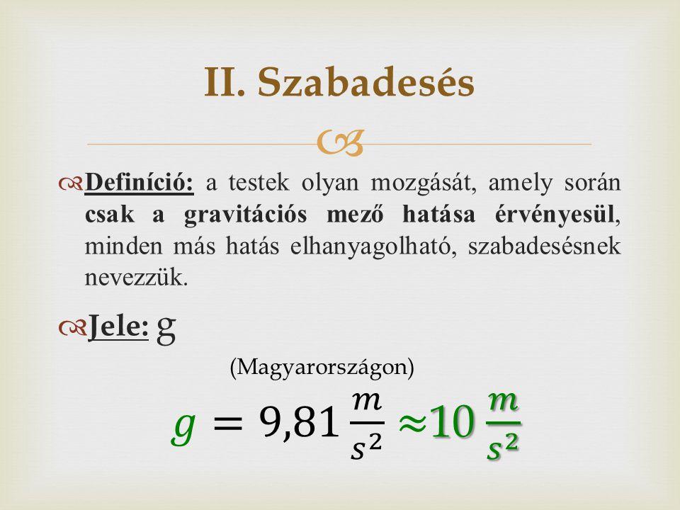 𝑔=9,81 𝑚 𝑠 2 ≈10 𝑚 𝑠 2 II. Szabadesés Jele: g