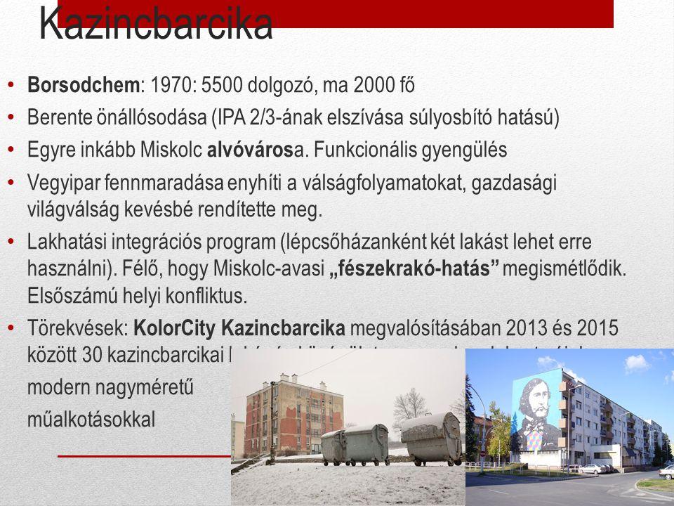 Kazincbarcika Borsodchem: 1970: 5500 dolgozó, ma 2000 fő