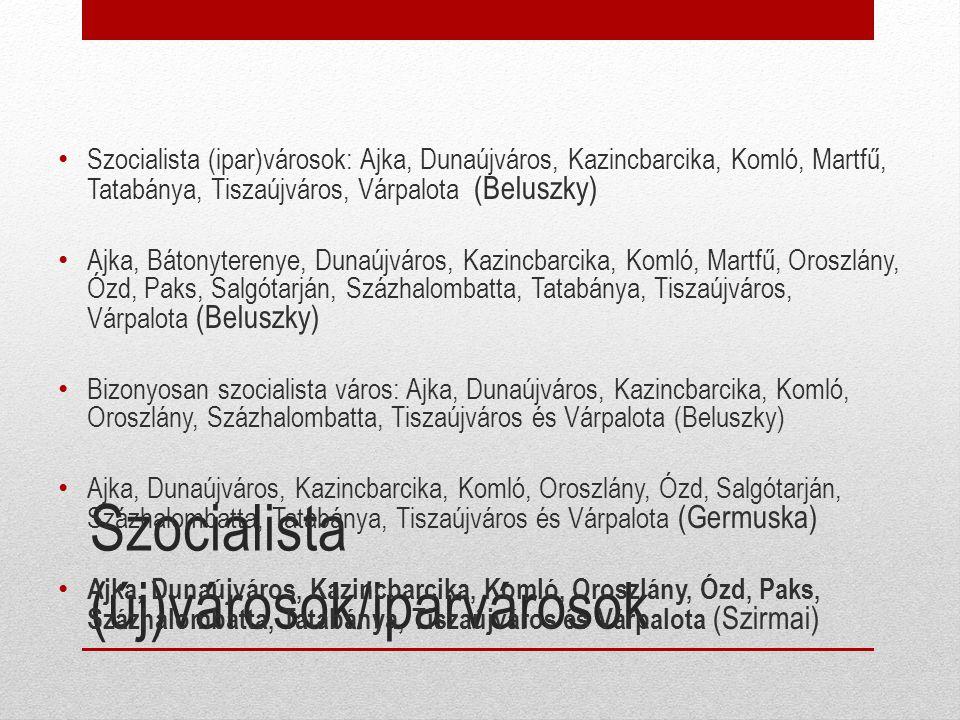 Szocialista (új)városok/iparvárosok
