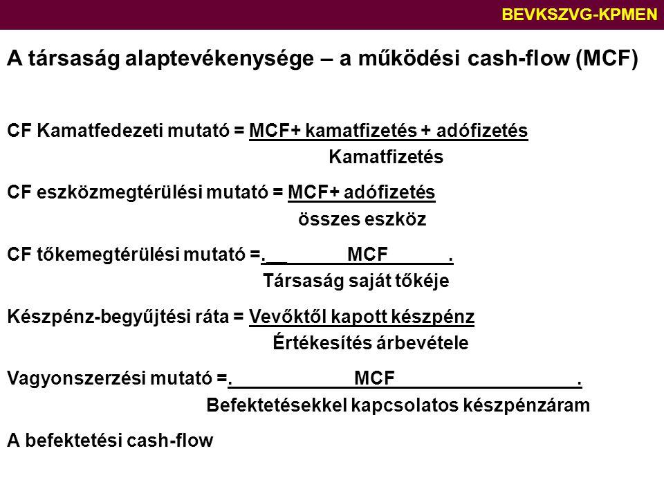 A társaság alaptevékenysége – a működési cash-flow (MCF)