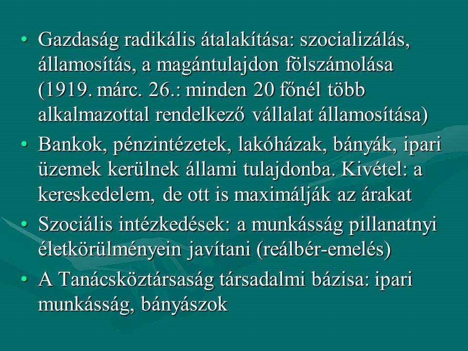 Gazdaság radikális átalakítása: szocializálás, államosítás, a magántulajdon fölszámolása (1919. márc. 26.: minden 20 főnél több alkalmazottal rendelkező vállalat államosítása)