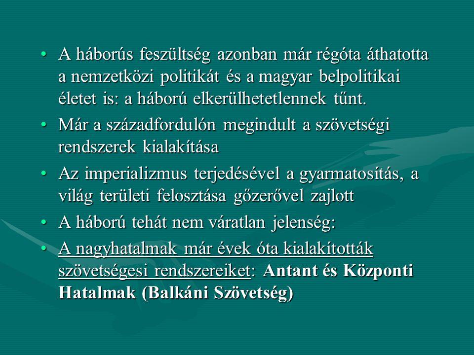 A háborús feszültség azonban már régóta áthatotta a nemzetközi politikát és a magyar belpolitikai életet is: a háború elkerülhetetlennek tűnt.