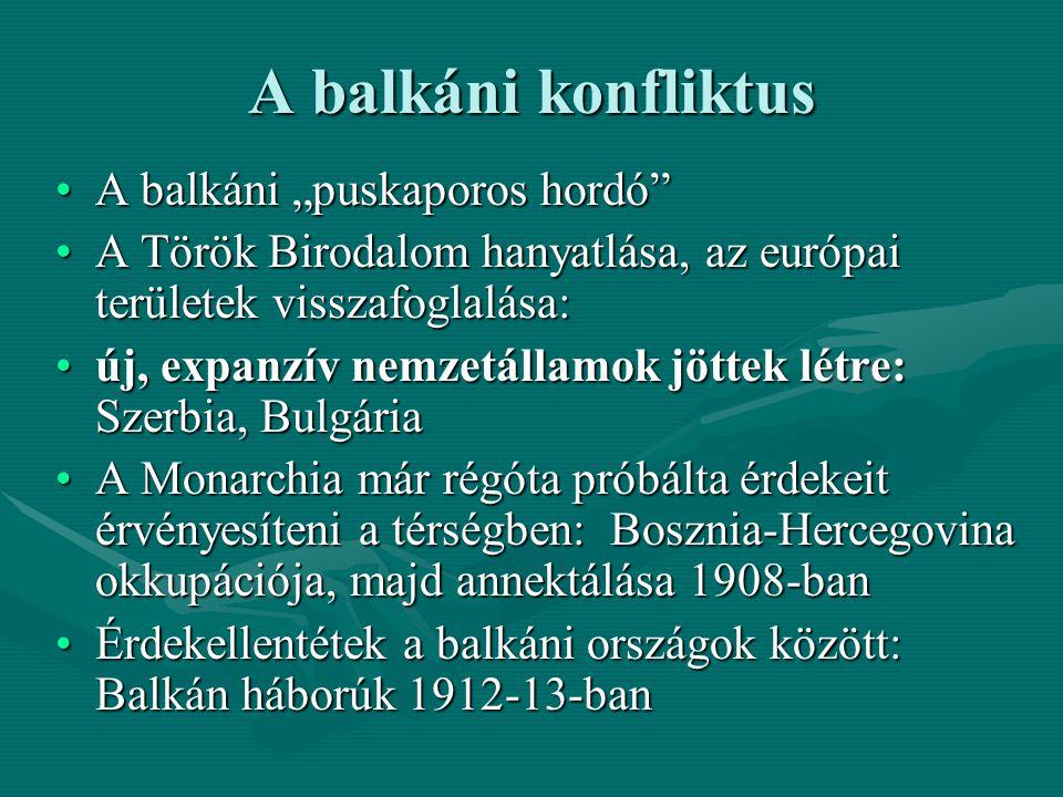 """A balkáni konfliktus A balkáni """"puskaporos hordó"""