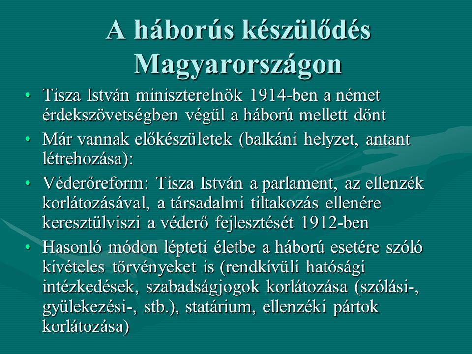 A háborús készülődés Magyarországon