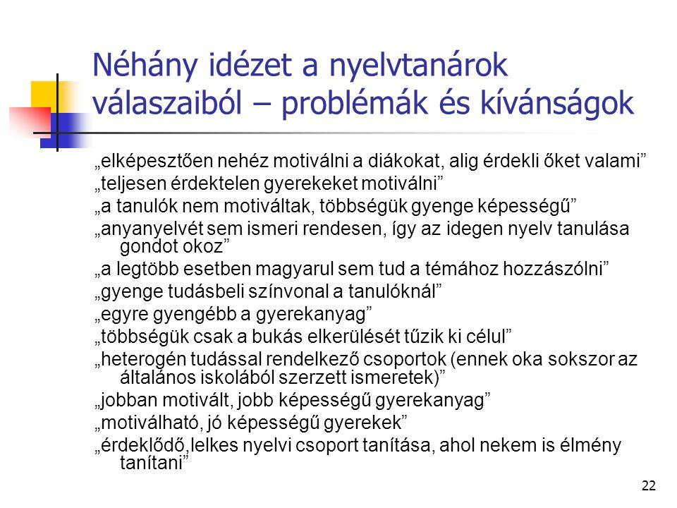 Néhány idézet a nyelvtanárok válaszaiból – problémák és kívánságok