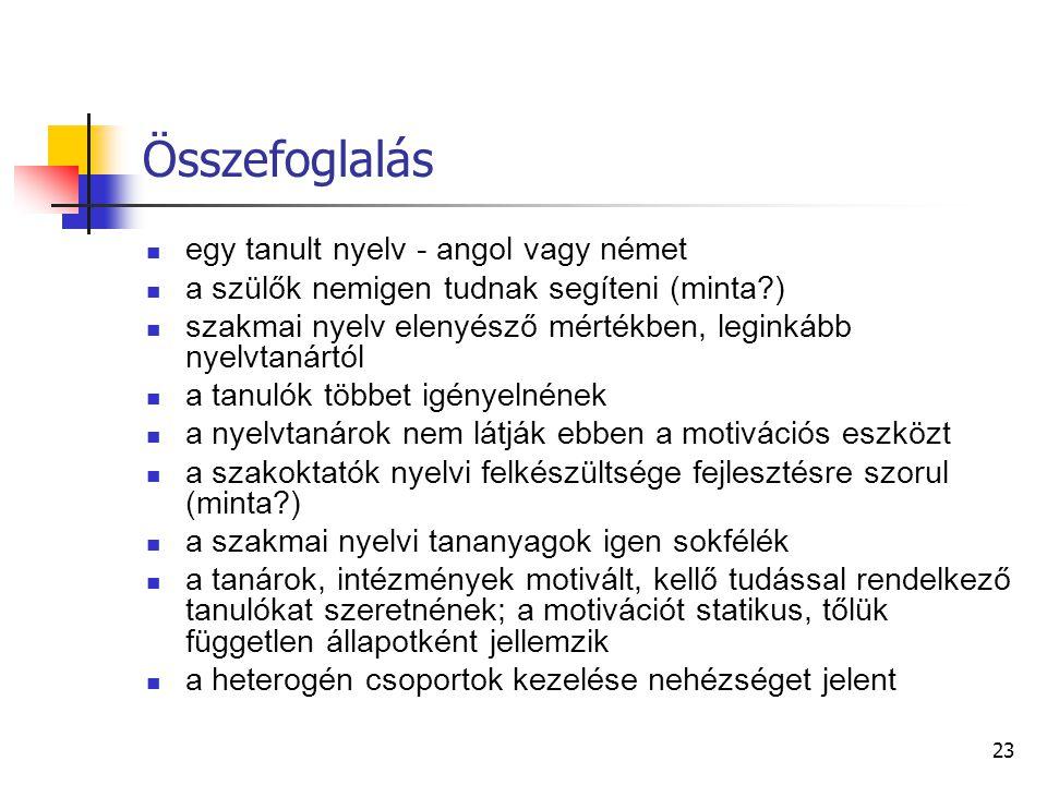 Összefoglalás egy tanult nyelv - angol vagy német