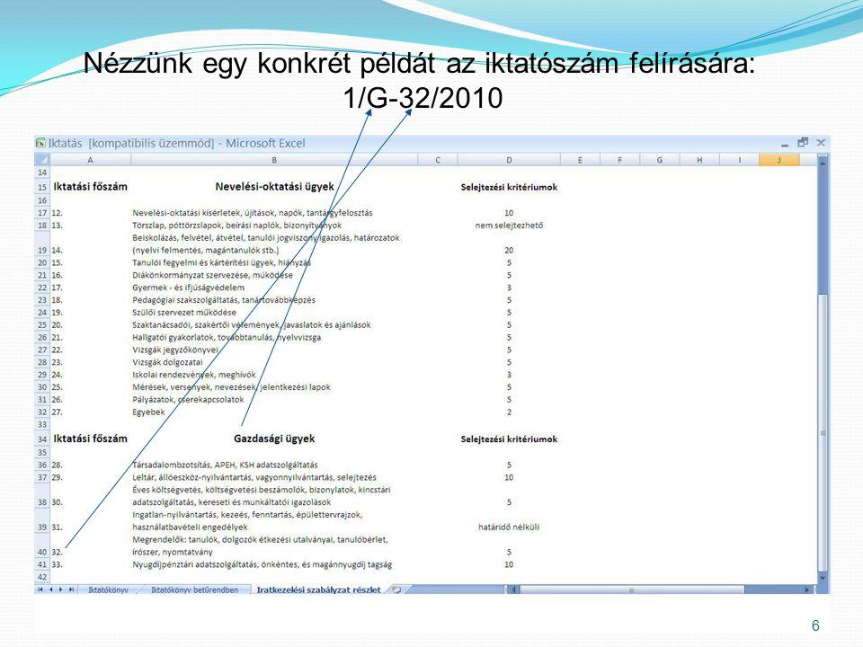 Nézzünk egy konkrét példát az iktatószám felírására: 1/G-32/2010